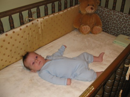 Rhodes in his new bed